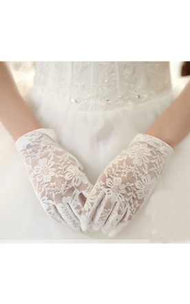 Korean Tulle White Lace Short Gloves