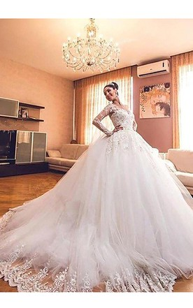Ball Gown Long Sleeves Lace Tulle V Neck Court Train Wedding Dresses