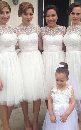 White Tulle Lace Bridesmaid Dress 2018 Short Sleeve