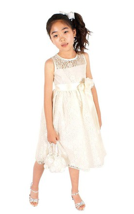 Sleeveless A-line Lace Dress With Flower and Illusion Neck