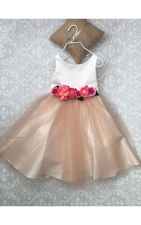 Satin and Tulle Flower Girl Dress With Silk Floral Details