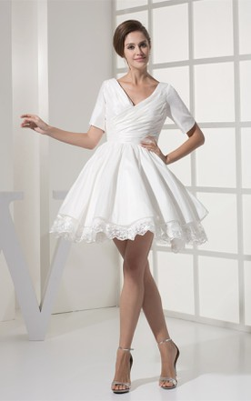 Short-Sleeve V-Neck Criss-Cross Mini Dress with Appliques