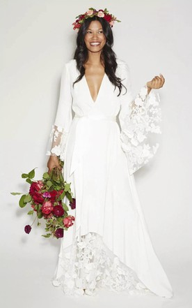 Long sleeved wedding gowns bridals dress with sleeves june bridals simple bohemian long sleeves deep v neck hippie beach wedding gown junglespirit