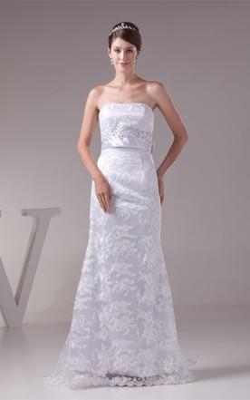 Strapless Maxi Sheath Dress with Embroideries and Beaded Waist