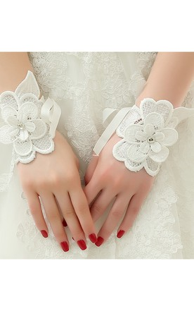 New White Peony Petal Strap Short Paragraph Gloves
