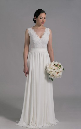 Deep V Neck Sleeveless Long A Line Wedding Dress With Chiffon Skirt