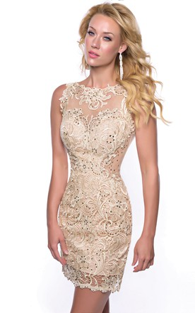 dcc83980874 Bateau Neck Sleeveless Sheath Lace Homecoming Dress With Sequins ...