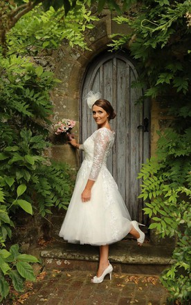 1950S Lace And Tulle Tea Wedding Dress