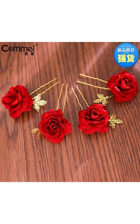 Bride'S Headdress Red Rose U-Clamp Pins Wedding Red Dresses Wedding Dresses Accessories