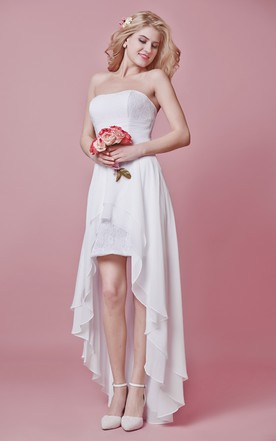 Strapless Empire High Low Wedding Dress