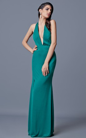 Halter Backless Long Jersey Dress With Side Split
