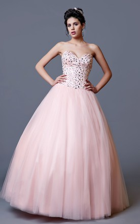 Elegant Strapless Sweetheart Embellished Satin and Tulle Gown