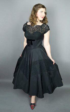 Cap-sleeve Tea-length A-line Satin Dress With Lace