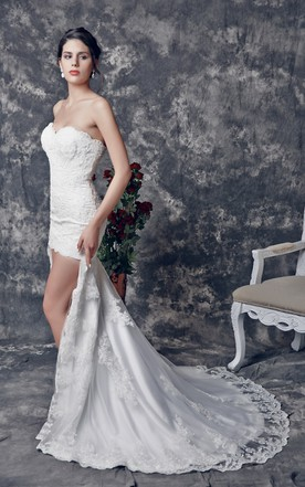 High lo bridals dress hi low wedding dresses june bridals for Hi lo hemline wedding dresses