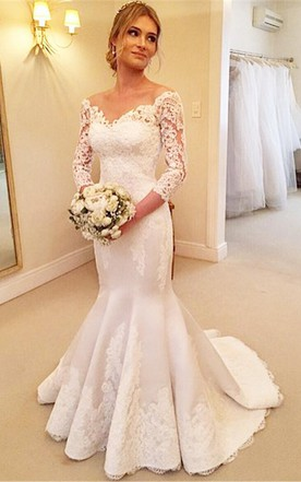 Modern Off The Shoulder 3 4 Longth Sleeve Mermaid Wedding Dress With
