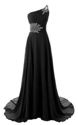 One-shoulder Chiffon Gown With Beaded Detail