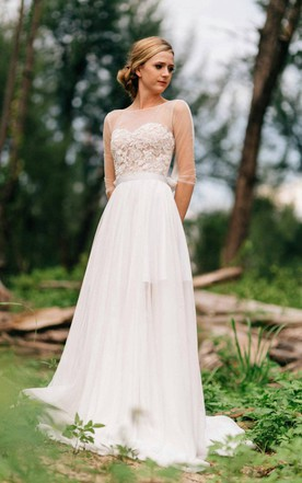 Cute cheap wedding dresses pretty wedding dresses june bridals sweetheart long sleeve chiffon tulle lace satin dress with illusion junglespirit Image collections