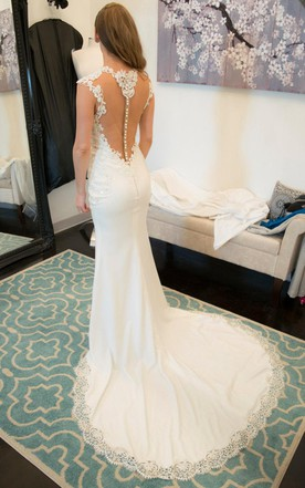 Jewel Illusion Neck Cap Sleeve Fit And Flare Jersey Wedding Dress ...