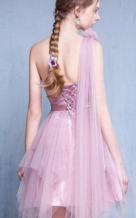 Lilac Blue Vintage Prom Evening Bridesmaid Gown Homecoming Dress