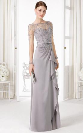 46f271bd365 Sheath Long-Sleeve Floor-Length Beaded Bateau-Neck Jersey Prom Dress ...