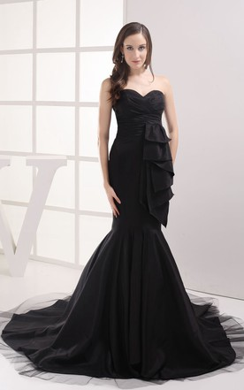 Sweetheart Ruched Dress With Draping and Trumpet Silhouette