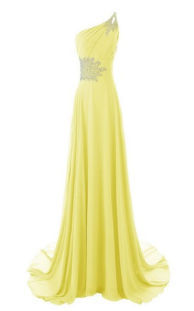 One-shoulder Beaded Chiffon A-line Gown With Train