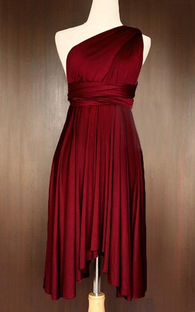 Wine Red Bridesmaid Convertible Wrap Dress