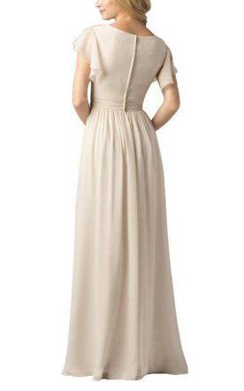 2149da8e2dd ... Butterfly Sleeves V-neck Chiffon Long Bridesmaid Dress