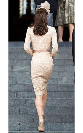 Sheath Column Bateau Long Sleeves Lace Sash Ribbon Belt Knee-Length Dresses