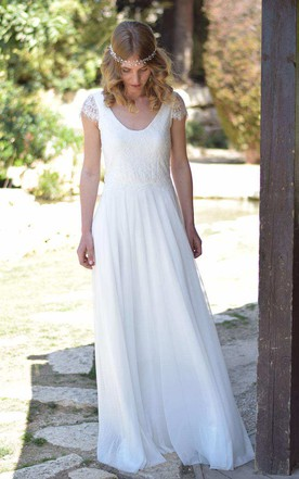 V-Neck Short Sleeve Chiffon Floor-Length Wedding Dress With Lace