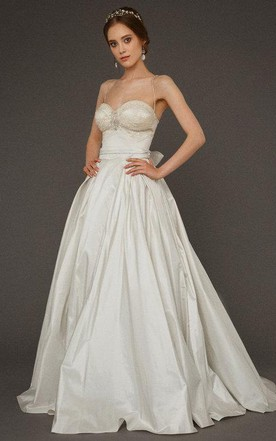 Spaghetti Strap A Line Taffeta Wedding Dress With Corset Top
