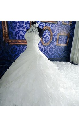 Gorgeous Ruffles Lace High Neck Wedding Dress 2016 Court Train Zipper