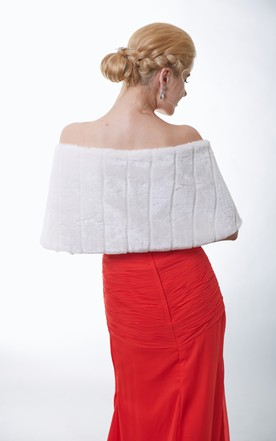 Ivory Faux Fur Cape With Satin Straps