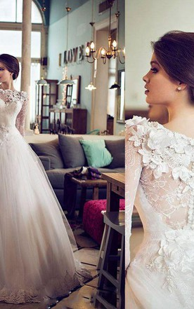 Elegant Bateau Long Sleeve Tulle Wedding Dress With Flowers Lace