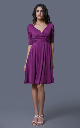 Knee-length V-neck Ruched Chiffion A-line Gown