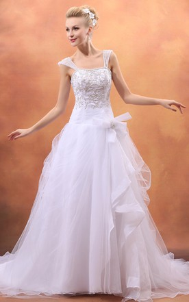Sassy A-Line Embellished Gown With Bow And Soft Tulle