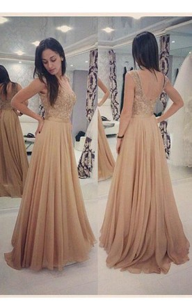 Sleeveless Cap Sleeve A Line Long Dress With Lace