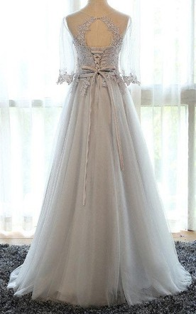 A-line Scoop Long Sleeve Tulle Dress