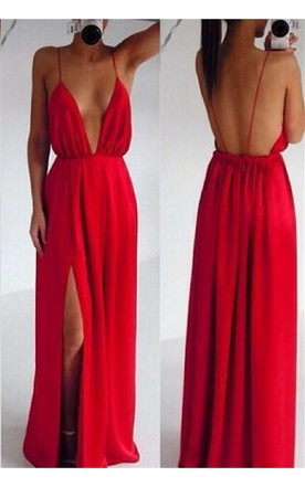 Sexy Red Spaghetti Straps Prom Dress 2016 Long Deep V-Neck