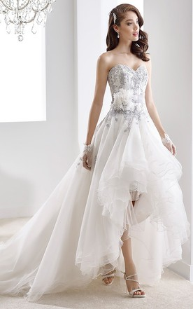 A lined wedding dress aline bridal dresses june bridals sweetheart high low beaded gown with ruffles and floral decoration junglespirit Choice Image