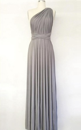 6d641ff25f7 Silver Light Grey Long Maxi Infinity Gown Convertible Formal Multiway Wrap Bridesmaid  Evening Toga Dress