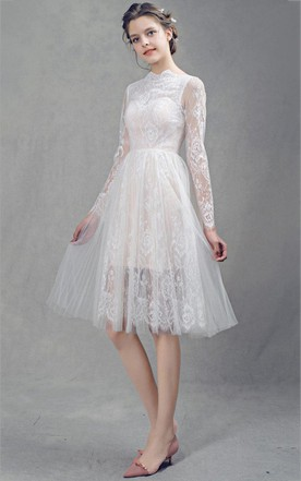 French Lace Short Tulle Wedding With Sleeves Dress ...