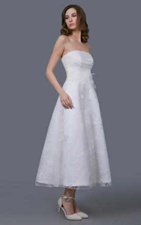 Wedding dresses for petite brides petite wedding dresses june glamour tea length organza gown with floral sash junglespirit Choice Image