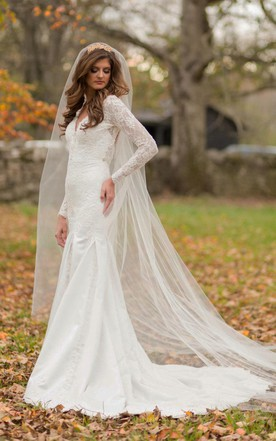 Long Sleeve Lace Wedding Gowns, Sleeved Lace Bridal Gowns - June ...