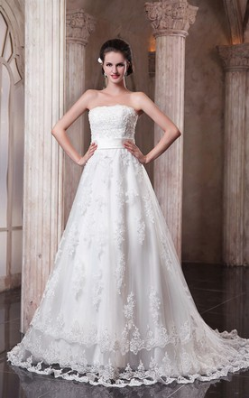 Strapless lace wedding dress sexy lace wedding dress june bridals a line strapless refined dress with laces and soft tulle junglespirit Image collections