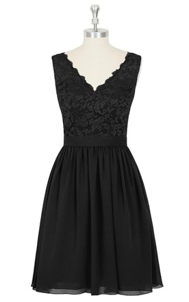 Short A-Line Chiffon Sleeveless Dress With Lace Bodice and V-Neck