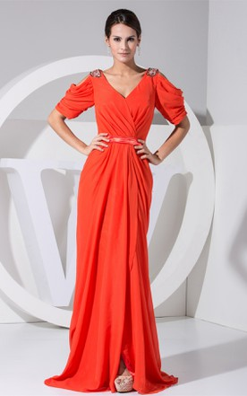 Half-Sleeve V-Neck Ruched Gown with Side Draping and Brush Train