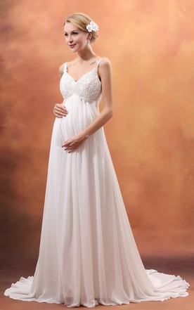 Vibrant Empire V-Neck Style Maternity Wedding Dress With Spaghetti Straps