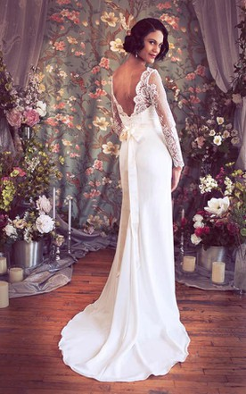 V-Neck Low-V Back Sheath Satin Wedding Dress With Sash And Flower