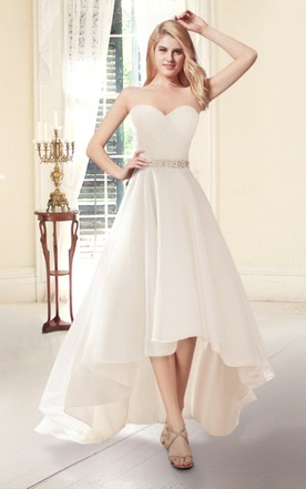 Sweetheart High Low Organza Wedding Dress